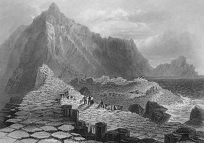 Ireland Giants Causeway Rock Formations   1860S Engraving Print