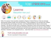 Reliable, qualified and flexible babysitter