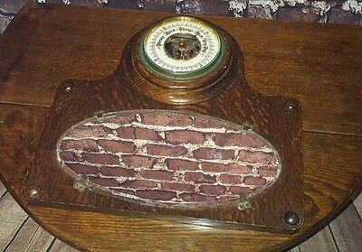 Antique Vintage Hallway Kitchen Wooden Barometer Mirror Lufft Wooden Nautical