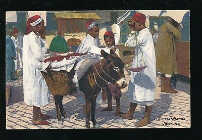 NORTH AFRICA FRUIT MERCHANT ANIMALS DONKEY MARCHANDS DE FRUITS 1924 PPC