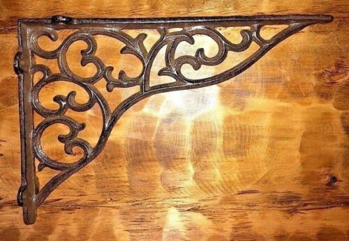 SET OF 4 LARGE VICTORIAN VINE SHELF BRACKET BRACE Rustic Antique Brown Cast Iron