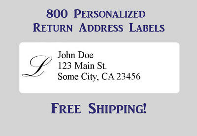 800 Printed Monogrammed Personalized Return Address Labels - 12 X 1 34 Inch