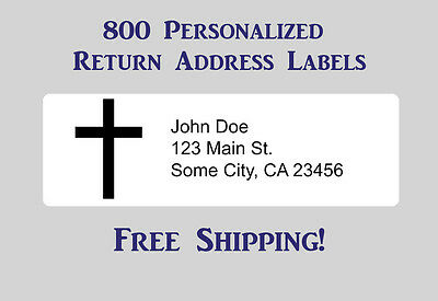 800 Printed Personalized Return Address Labels - 12 X 1 34 Inch With Cross