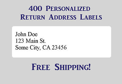 400 Printed Personalized Return Address Labels - 12 X 1 34 Inch