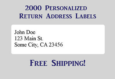 2000 Printed Personalized Return Address Labels - 12 X 1 34 Inch