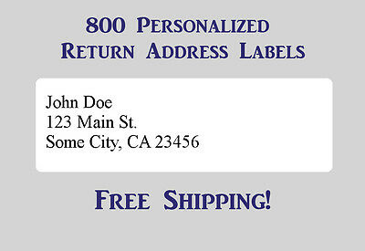 800 Printed Personalized Return Address Labels - 1/2 x 1 3/4 - Personalized Office Supplies
