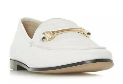 SH1* Dune London Womens Guilt - White Metal Saddle Trim Loafer Shoe UK 5