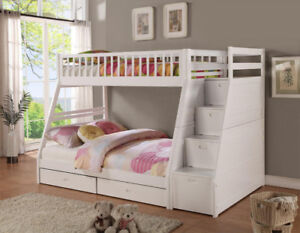 SINGLE OVER DOUBLE STEP BUNKBED IN WHITE OR ESPRESSO FINISH