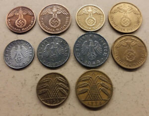 10 German coins from 1924 - 1941