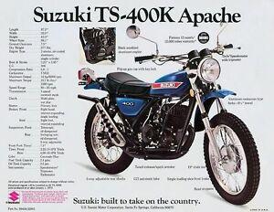 1973 SUZUKI TS-400K APACHE SALES SPECS AD/ BROCHURE