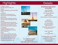 Escorted European Highlights Tour April 16-24, 2016