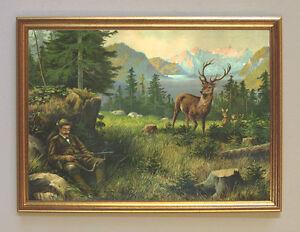Wildererbild Jagdbild Der Albtraum von J. Ringeisen Faksimile 38 im Goldrahmen