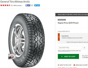 4 Winter Tires 225/55/17 thread > 95% New General Altimax Arctic