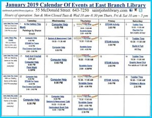 East Branch Public Library - January Calendar of Events