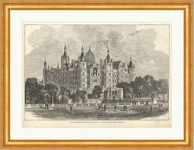 Das großherzogliche Residenzschloss, Schwerin Deutsches Reich Holzstich E 10789