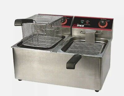 New 22 Double Well Electric Countertop Deep Fryer 32 Lb Winco Efs-32 9979 Etl