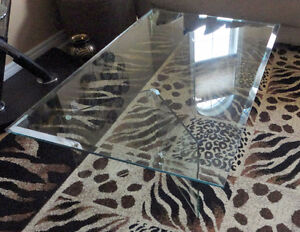 Large beveled glass top with glass base coffee table for sale London Ontario image 4