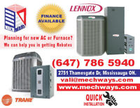Air conditioner,Furnace, Trane, Lennox,Aireflo,Ameristar,Rebates