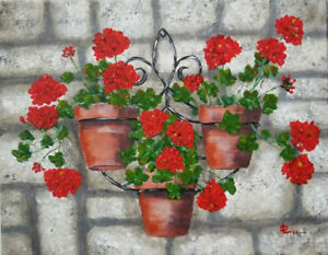 *Geranium* 11 x 14 Acrylic Canvas Painting