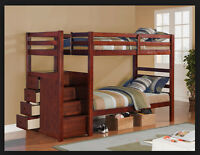 Wood Bunk Bed with Stairs and Drawers