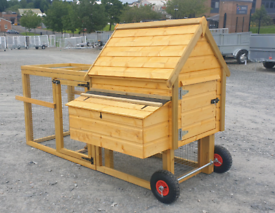 Wooden hen arks with front cage pen mobile on wheeks T & G boards