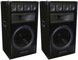 "Technical Pro 15"" Powered USB/MP3/Equilizer PA Speakers (Both)"