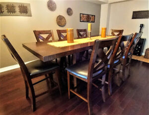 9 Pieces Dining Set (Hardwood, counter height)