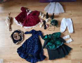 """Porcelain doll clothes dresses 14"""" shoes bloomers parasol etc vgc"""