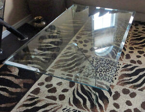 Large Bevelled glass top and base coffee table London Ontario image 1