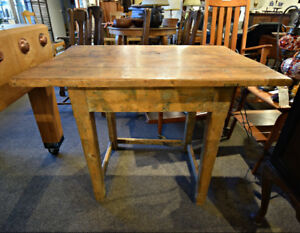 GREAT ANTIQUE WORK TABLE WITH FABULOUS PATINA AT CHARMAINE'S