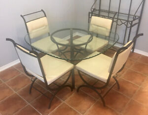 Iron & Glass & Leather Table & Chairs - Beautiful! - SAVE HUGE!