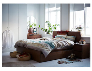 Ikea Full Size Bedframe with storage boxes