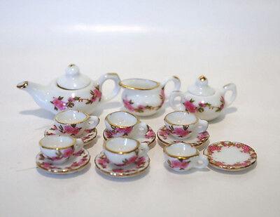 Porzellan Tee Service nostalgische Rose 1:12  Puppenstube