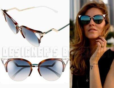 FENDI havana IRIDIA Crystals Cat Eye FF 0041S VIOG5 Sunglasses NWT Authentc (Fendi Iridia Sunglasses)