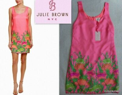 NWT JULIE BROWN  NYC 100% Silk Border Print Tank Shift Dress Size 4 Silk Border Print Dress