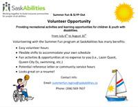 SaskAbilities Regina Volunteer Opportunity - Summer Fun Program