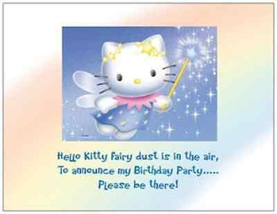 Hello Kitty Birthday Party Invitations - 20  Blue HELLO KITTY Fairy Birthday Party Post CARDS Invitations