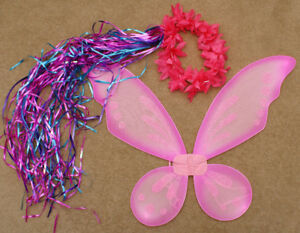 Pink Sparkly Wings and Flower Headband with ribbons