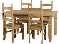 5 Piece Solid Natural Waxed Pine Dining Set