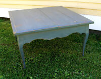 Antique Coffee Table Side Table Distressed Blue Patina