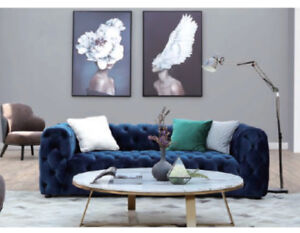 Dark Blue Tufted Velvet Sofa