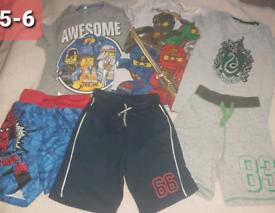 Lego harry potter spiderman Boys 5-6 summer bundle tshirt shorts