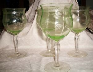 4 Green Glass Wine Glasses