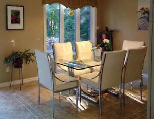 Glass kitchen table set