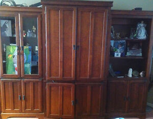 Solid wood cherry wall unit 3 pieces tv included!