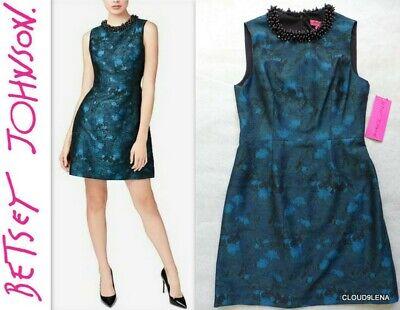 Beaded Jacquard Sheath Dress - NWT BETSEY JOHNSON Size 8 Beaded Collar Jacquard  Cocktail Sheath Dress