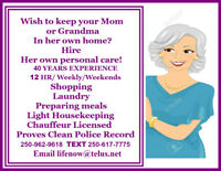 Retired Personal Assistant offers In Home Care