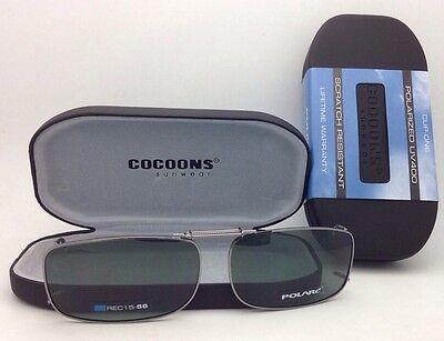 COCOONS Grey Polarized Sunglasses/Eyeglasses Over Rx Clip-on REC 15-56 Gunmetal
