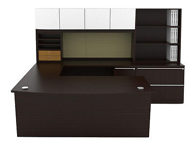 New Verde Modern Bowfront U-shape Executive Office Desk Station Suite Set 733