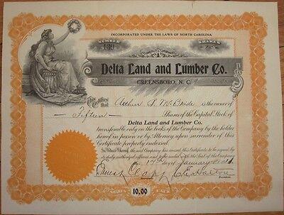 1911 Stock Certificate: 'Delta land & Lumber Co.'- Greensboro, North Carolina NC